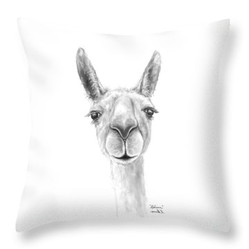 Throw Pillow featuring the drawing Addison by K Llamas