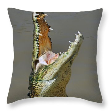 Adelaide River Crocodile Throw Pillow by Bill  Robinson