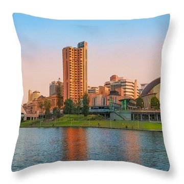 Adelaide Riverbank Panorama Throw Pillow