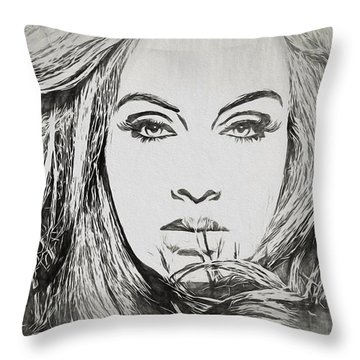 Adele Charcoal Sketch Throw Pillow