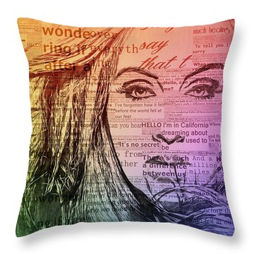 Adele Hello Typography  Throw Pillow by Dan Sproul