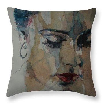 Throw Pillow featuring the painting Adele - Make You Feel My Love  by Paul Lovering