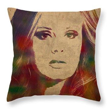 Adele Watercolor Portrait Throw Pillow
