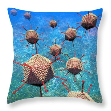 Adenovirus Particles 3 Throw Pillow