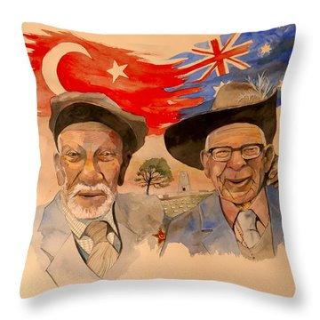 Throw Pillow featuring the painting Adil Sahin And Len Hall by Ray Agius