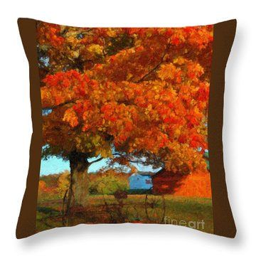 Throw Pillow featuring the painting Adirondack Autumn Color Brush by Diane E Berry