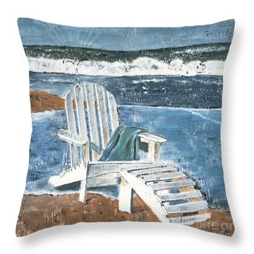 Adirondack Chair Throw Pillow by Debbie DeWitt