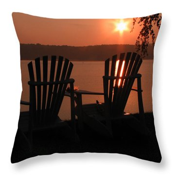 Adirondack Chairs-1 Throw Pillow by Michael Mooney