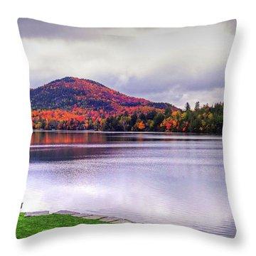 Adirondack Chairs In The Adirondacks. Mirror Lake Lake Placid Ny New York Mountain Throw Pillow