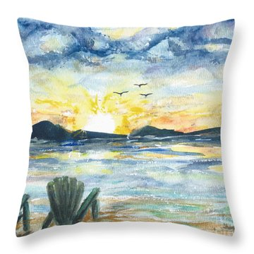 Throw Pillow featuring the painting Adirondack Chairs With A View by Reed Novotny