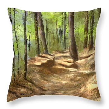 Throw Pillow featuring the painting Adirondack Hiking Trails by Judy Filarecki