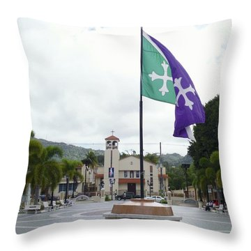 Adjuntas, Puerto Rico Flag Throw Pillow