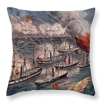 Admiral Farragut's Fleet Engaging The Rebel Batteries At Port Hudson Throw Pillow by American School