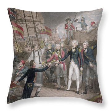 Admiral Nelson's Boarding The Two Spanish Ships, 14th February 1797 Throw Pillow
