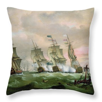Admiral Sir Edward Hawke Defeating Admiral De Conflans In The Bay Of Biscay Throw Pillow by Thomas Luny
