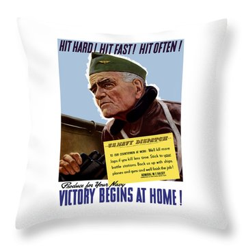 Admiral William Bull Halsey -- Ww2 Propaganda  Throw Pillow