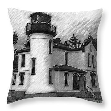 Admiralty Head Lighthouse Sketched Throw Pillow