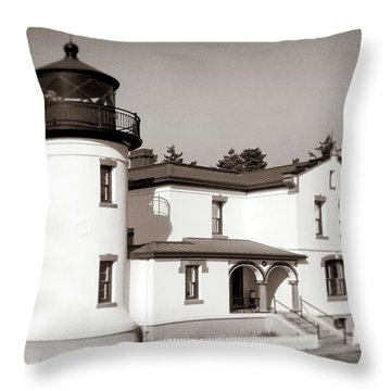Admiralty Head Lighthouse Vintage Photograph Throw Pillow
