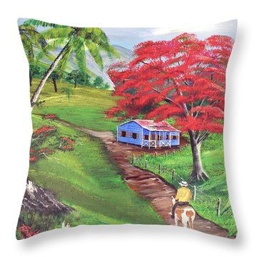 Admirando El Campo Throw Pillow by Luis F Rodriguez