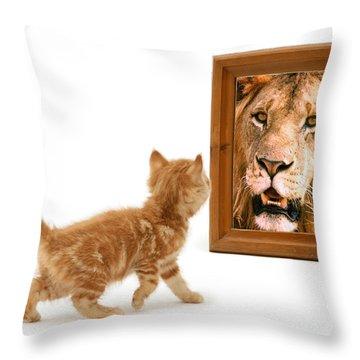 Admiring The Lion Within Throw Pillow