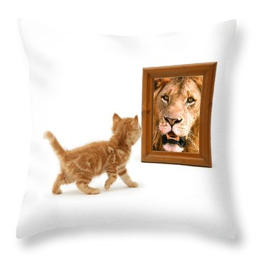 Admiring The Lion Within Throw Pillow