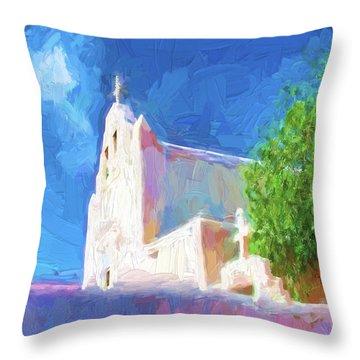 Throw Pillow featuring the digital art Adobe Church by OLena Art Brand