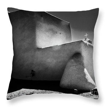 Adobe Church In B-w Throw Pillow