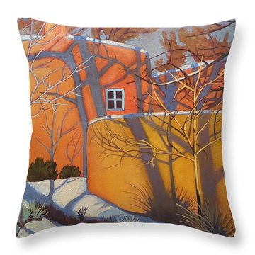 Adobe, Shadows And A Blue Window Throw Pillow