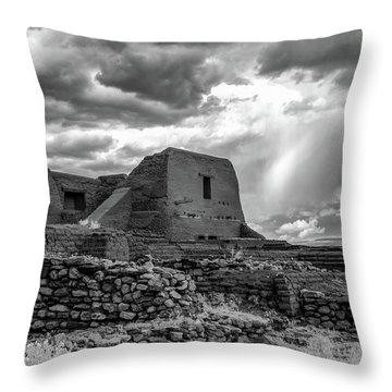Throw Pillow featuring the photograph Adobe, Stones, And Rain by James Barber