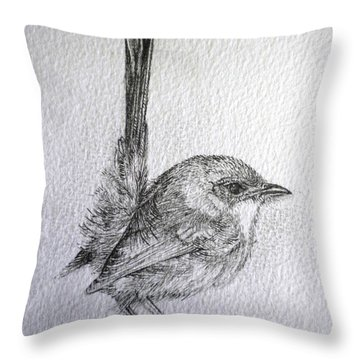 Throw Pillow featuring the drawing Adolescent Blue Wren by Sandra Phryce-Jones
