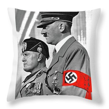 Adolf Hitler And Fellow Fascist Dictator Benito Mussolini October 26 1936 Number Three Color Added  Throw Pillow