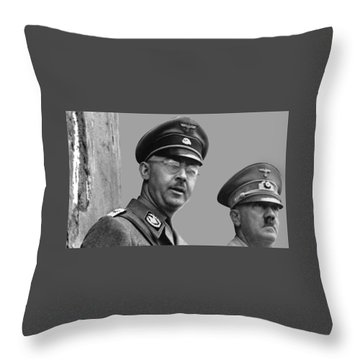 Adolf Hitler And Gestapo Head Heinrich Himmler Watching Parade Of Nazi Stormtroopers 1940-2015 Throw Pillow by David Lee Guss
