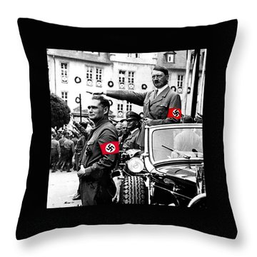 Adolf Hitler Giving The Nazi Salute From A Mercedes #3 C. 1934-2015 Throw Pillow by David Lee Guss