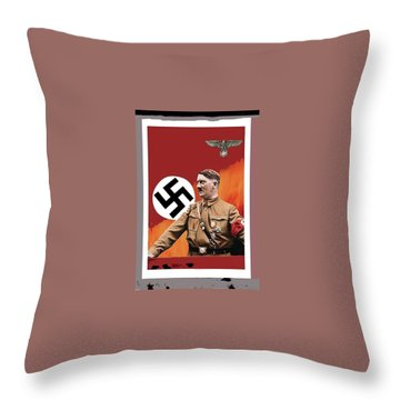 Adolf Hitler In Color With Nazi Symbols Unknown Date Additional Color Added 2016 Throw Pillow