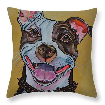 Throw Pillow featuring the painting Adopt A Pit Bull by Patti Schermerhorn