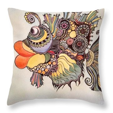Throw Pillow featuring the drawing Adaptatus The Fish by Iya Carson