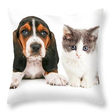 Adorable Basset Hound Puppy And Kitten Sitting Together Throw Pillow by Susan Schmitz