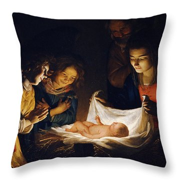 Adoration Of The Child Throw Pillow