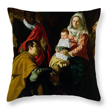Adoration Of The Kings Throw Pillow by Diego rodriguez de silva y Velazquez
