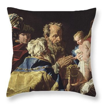 Adoration Of The Magi  Throw Pillow by Matthias Stomer