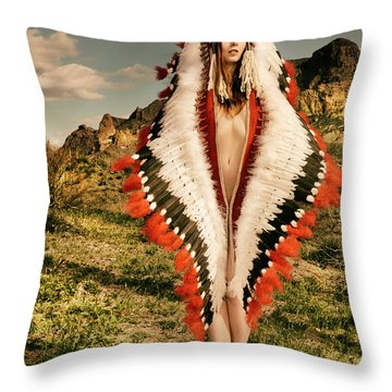 Adorned Feathered Nude Throw Pillow
