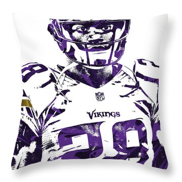 Throw Pillow featuring the mixed media Adrian Peterson Minnesota Vikings Pixel Art 2 by Joe Hamilton