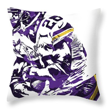 Throw Pillow featuring the mixed media Adrian Peterson Minnesota Vikings Pixel Art by Joe Hamilton
