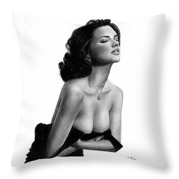 Adriana Lima Portrait Throw Pillow