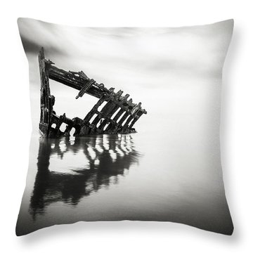 Adrift At Sea In Black And White Throw Pillow