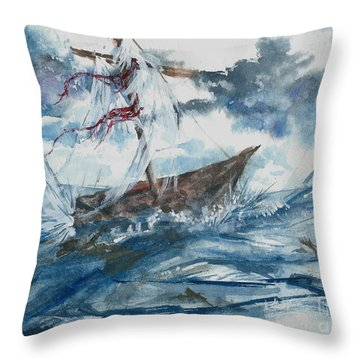 Throw Pillow featuring the painting Adrift At Sea by Reed Novotny