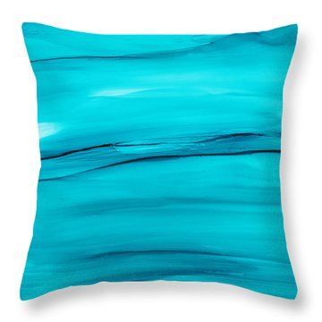 Throw Pillow featuring the painting Adrift In A Sea Of Blues Abstract by Nikki Marie Smith