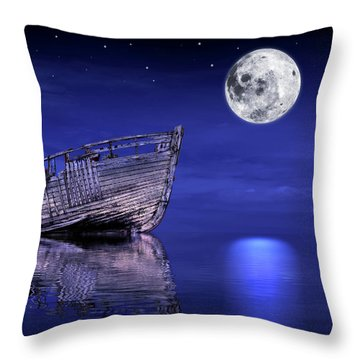 Throw Pillow featuring the photograph Adrift In The Moonlight - Old Fishing Boat by Gill Billington