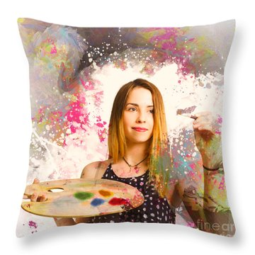 Throw Pillow featuring the photograph Adult Art Class Painter by Jorgo Photography - Wall Art Gallery