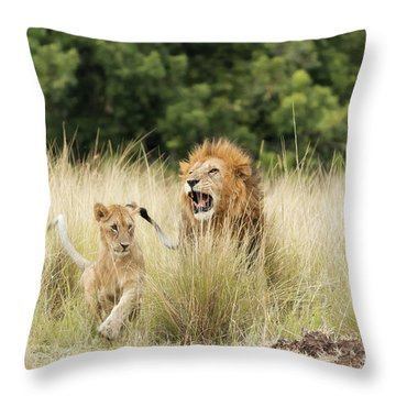 Adult Lion And Cub In The Masai Mara Throw Pillow